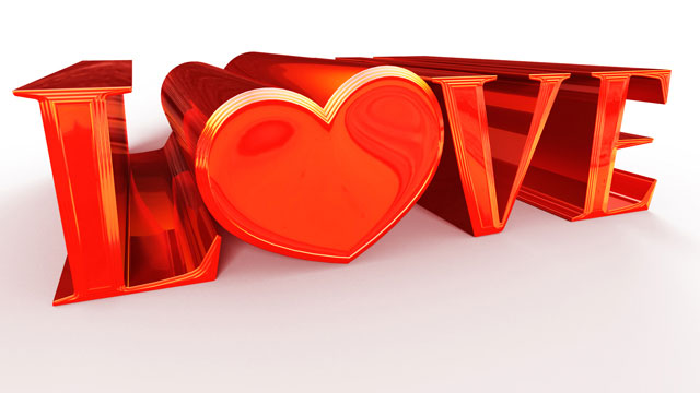 Valentines Love Heart Text in Photoshop CS6 3D